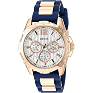 GUESS  Comfortable Rose Gold-Tone + Iconic Blue Stain Resistant Silicone Strap with Day, Date +...