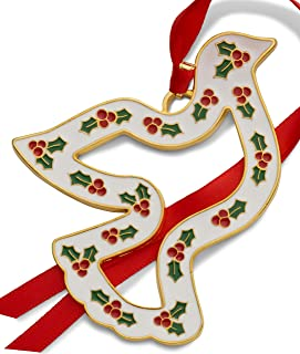 Wallace 2019 Gold-Plated & Enameled Wonders of Christmas (Dove w/Holly) 10th Anniversary Holiday Ornament, Metal