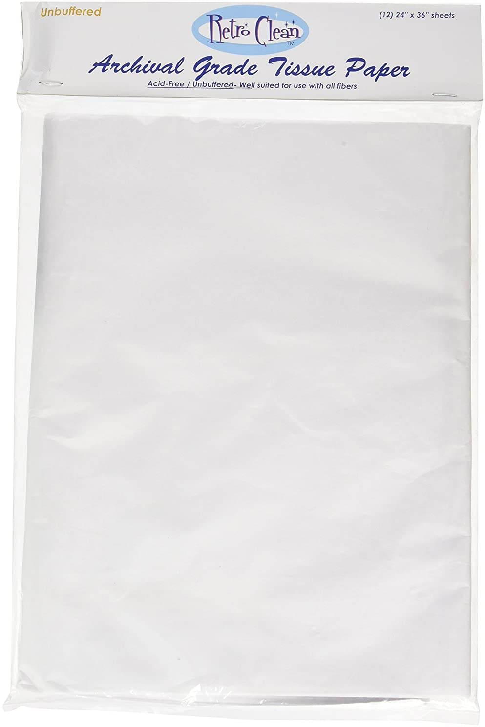 RetroClean Unbuffered Archival Grade Tissue Paper, 24-Inch x 36-Inch, 12 sheets