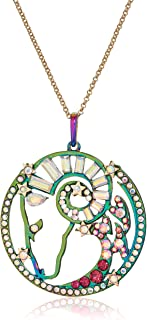 Betsey Johnson Women's Aries Zodiac Necklace and Earrings Set, Multi, One Size