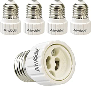 Aiwode Base Transformador de Lámpara E27 a GU10,Adaptador de Casquillo de Bombilla para bombillas LED y bombillas Halógenas,Potencia Máxima 200W,Paquete de 5.