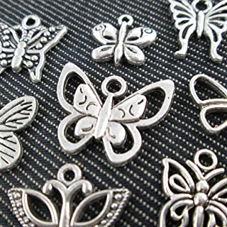 10 Mixed Silver Tone Butterfly Dragonfly Charm Fashion Pendants Jewelry Diy Accessories Jewelry Making (NS515 M027)