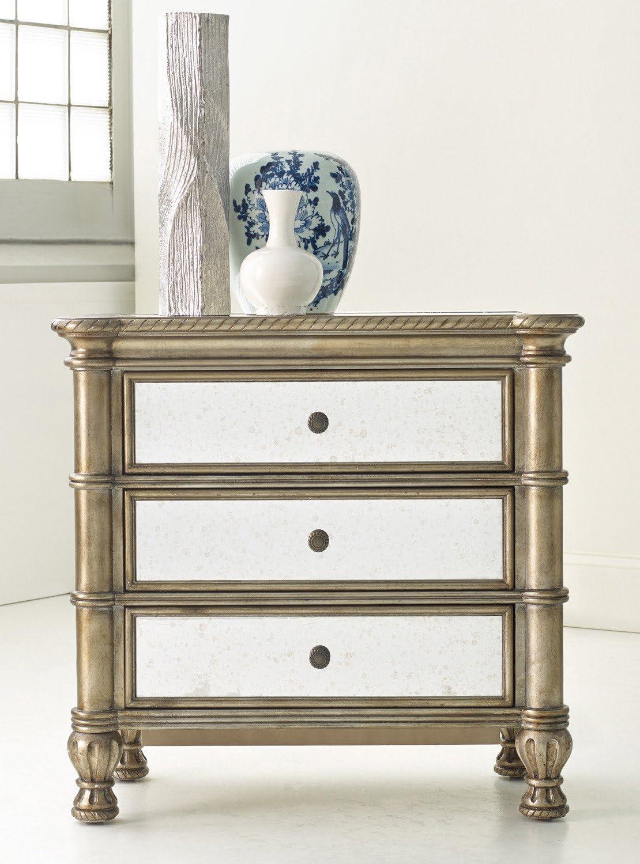 Hooker Furniture Melange 3-Drawer Montage Mirrored Bedside Chest in Champagne