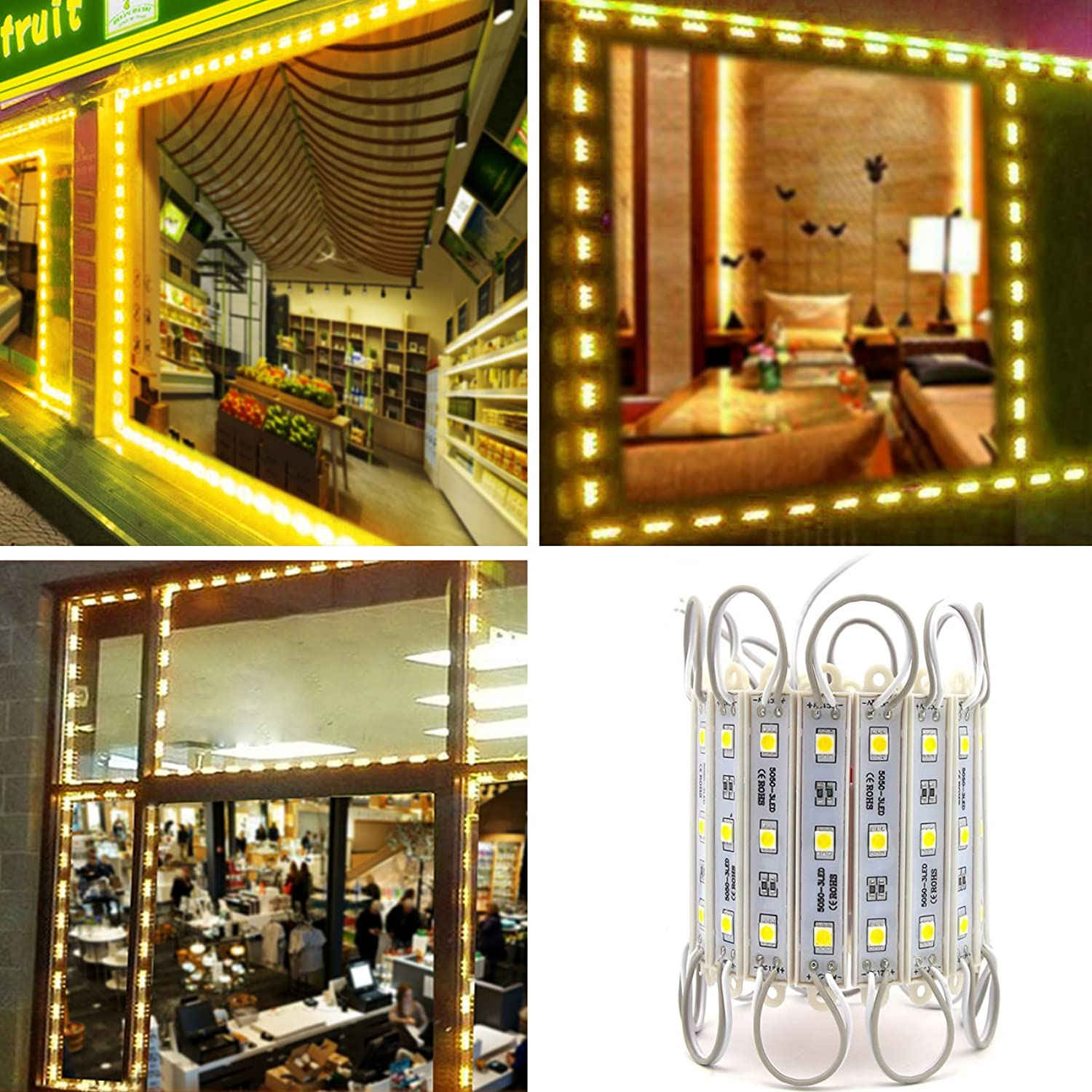 LED Storefront Lights, Pomelotree 40ft 80 Pieces Letter Adgreenising Sign, 4 Set 5050 SMD LED module Window Strip Light (RGB light)