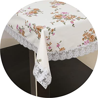 OrientalWeavers PVC Lotus 6 Seater Dining Table Cover, 54 X 78 in ,Rectangle Shape with Maching Lace Border ( Fits Table Top Size 2.5 Ft X 5 Ft to 4 Ft X 6 Ft), Floral Off White
