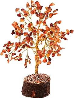 Chakra Stones Reiki Healing Crystals Energy Meditation Gemstone Tree Feng Shui Bonsai for Fortune Money Good Luck Reiki Healing Balancing Home Office Decor Gift Size 8-10 Inch (Carnelian Golden)