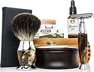 Maison Lambert Ultimate Shaving Kit Set with Organic Shaving Soap, Aftershave Oil, Wood Shaving Bowl, 100% Pure Black Badger Shaving Brush and Double Edge Safety Razor with 10 Blades.