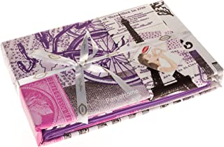 TAC 100% Turkish Cotton 4 Pcs!! Paris Eiffel Tower Vintage Purple Theme Themed Full Double Queen Size Quilt Duvet Cover Set Bedding Made in Turkey