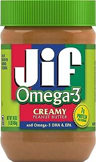Jif Omega-3 Creamy Peanut Butter, 16 Ounces, Contains 32mg of Omega-3 DHA & EPA, Smooth, Creamy Texture, No Stir Peanut Bu...