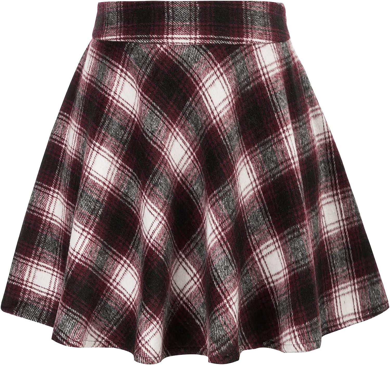 Kate Kasin Women Plaid A-Line Mini Skirt High Waist Flared Skater Skirt