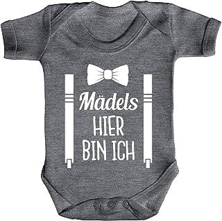 ShirtStreet Lustiges Geschenk zur Geburt Strampler Bio Baumwoll Baby Body kurzarm Jungen Mädchen Mädels hier bin ich