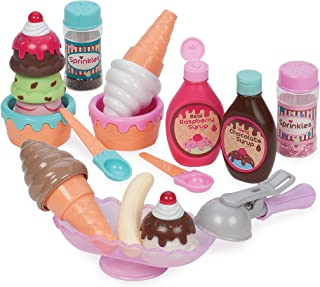 Play Circle by Battat – Sweet Treats Ice Cream Parlour Playset – Sprinkles, Cones, Spoons, Cups - Pretend Play Food Decora...