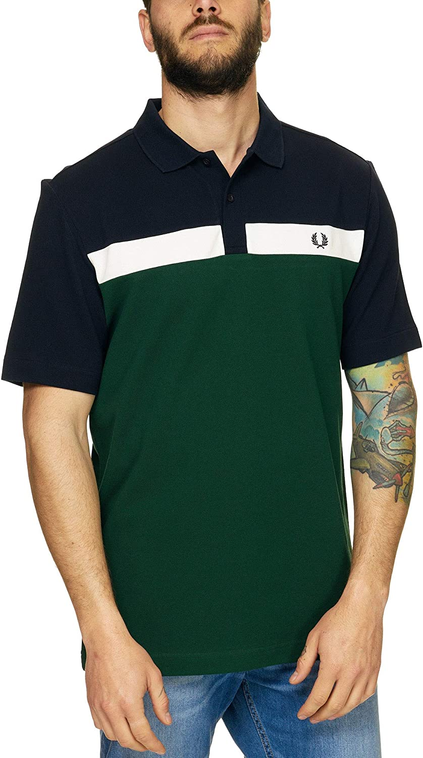 Fred Perry Polo Uomo Contrast Panel Pique M5577 BLU S: Amazon ...