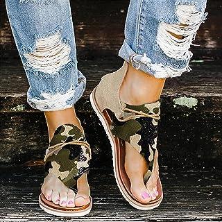 Sandales Femme, Mode Femmes Sandales Plates T-Sangle Comfy Semi Trailer Sandales Chaussures Plage Tongs Pantoufles, Sandal...
