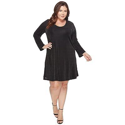 Karen Kane Plus Plus Size Sparkle Knit Taylor Dress (Black/Silver) Women