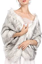 Caracilia Women Faux Fur Wedding Wrap Shawl Long Cape Bridal Wraps and Shrugs for Winter Wedding Evening Party