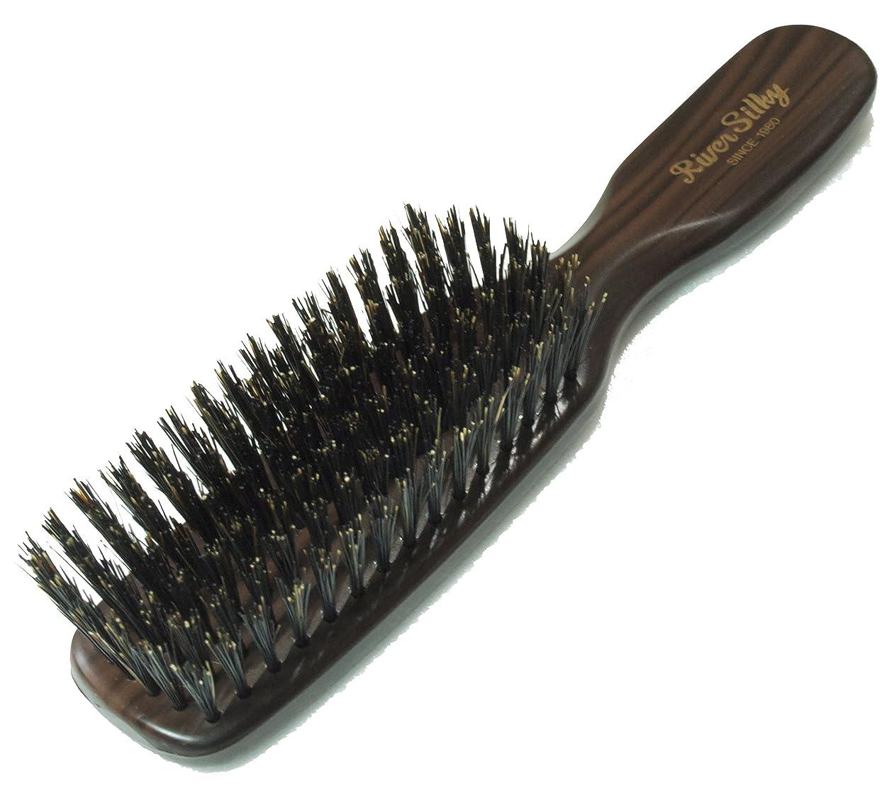 任意習慣関連付ける静電気を抑え髪を傷めにくい 木目調 猪毛 ヘア ブラシ 細植タイプ