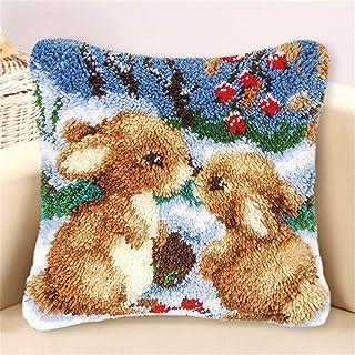 Lanrui Crochet de loquet Kits de Bricolage Couvre-Oreiller Beautiful Rabbit Motif Crochet Yarn Kit Bateau d'angoissons pou...