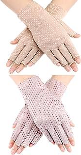 Maxdot Summer UV Protection Driving Gloves Anti Slip Fingerless Glove Summer Outdoors Gloves for Women and Girls