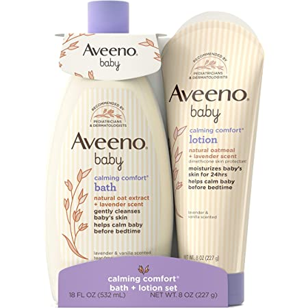 Aveeno Baby Calming Comfort Bath & Lotion Set, Night time Baby Skin Care Products with Natural Oat Extract, Lavender & Vanilla Scents, Paraben-Free, 2 Items