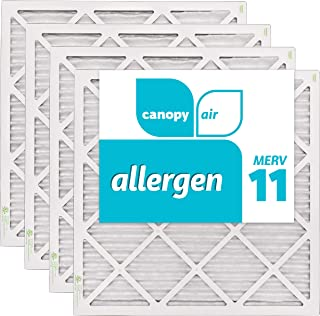 Canopy Air 20x20x1, Allergen AC Furnace Air Filter, MERV 11, Made in the USA, 4-Pack (Actual Size 19 1/2
