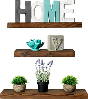 Rustic Farmhouse 3 Tier Floating Wood Shelf - Floating Wall Shelves (Set of 3), Hardware and Fasteners Included (Walnut, 3 Tier)