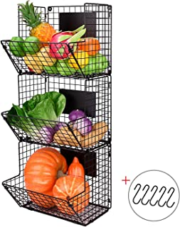 X-cosrack Metal Wire Basket Wall Mount, 3 Tier Wall Storage Basket Organizer with Hanging Hooks Chalkboards, Rustic Kitchen Fruit Produce Bin Rack Bathroom Tower Baskets (Black)