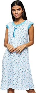 Women's Floral Pattern Short Night Dress Loose Stretchable Short Gown Short Sleeve, Blue