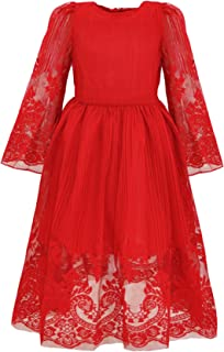 Bonny Billy Girl's Classy Embroidery Lace Maxi Flower Girl Dress 5-6 Years