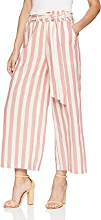 MOON RIVER Women's High Waisted Cropped Striped Belted Wide Leg Pants
