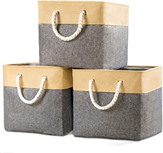 Prandom Large Foldable Cube Storage Baskets Bins 13x13 inch [3-Pack] Fabric Linen Collapsible Storage Bins Cubes Drawer with Cotton Handles Organizer for Shelf Toy Nursery Closet Bedroom(Gray/Beige)…
