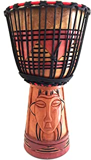 Djembe Drum African Percussion Hand Carved Bongo Congo Wood Drum, COLLECTORS PROFESSIONAL QUALITY LARGE SIZE - JIVE FEDERAL (TM) BRAND