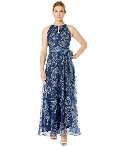 Tahari by ASL Embroidered Vine Floral Gown with Halter Neckline (Vine Floral Navy) Women