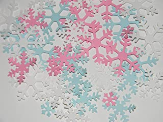 Snowflake Confetti -Gender Reveal -100 White Pink and Blue snowflakes - Winter Baby shower Birthday Party Table decor Decorations