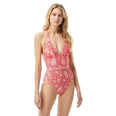 MICHAEL Michael Kors Romantic Paisley Halter One-Piece w/ Removable Soft Cups Ties at Neck (Geranium) Women