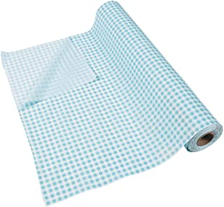Turquoise Light Blue Gingham Tablecloth Roll (100 feet long) Party Decor
