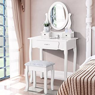 Superbe Mecor Makeup Vanity Sets With Oval Mirror, Wood Dressing Table W/Cushioned  Stool ,