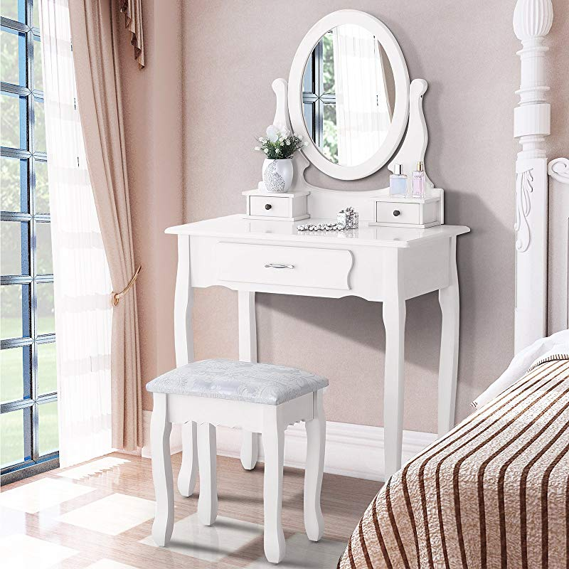 Mecor Makeup Vanity Sets With Oval Mirror Wood Dressing Table W Cushioned Stool 3 Drawers Girls Women Bedroom Makeup Table White