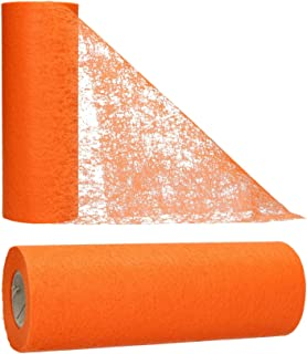 AmaCasa Chemin de Table Non tissé Courroie de Table Ruban de Table Non tissé Mariage Communion 23cm / 25m (Orange)
