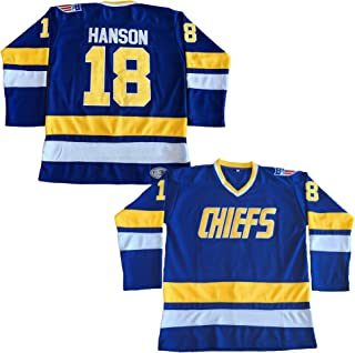 Hanson Brothers Charlestown Chiefs 16 Jack 17 Steve 18 Jeff Slap Shot Movie Hockey Jersey Blue