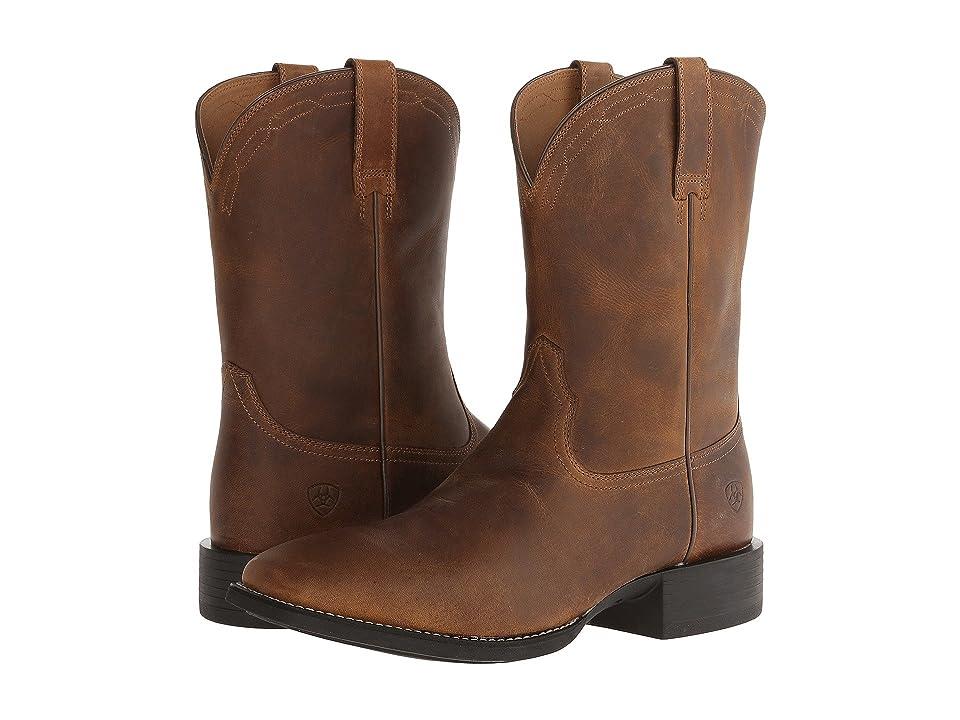 Ariat Heritage Roper Wide Square Toe (Powder Browm) Cowboy Boots