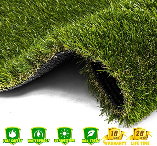 AYOHA 7 X 13 91 Square Ft Artificial Grass Realistic Fake Grass Deluxe Synthetic Turf Thick Lawn Pet Turf Indoor Outdoor Landscape Easy To Clean With Drain Holes Non Toxic High Density 35mm