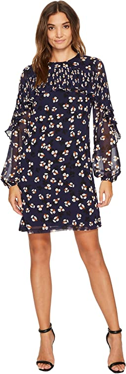 Donna Morgan - Long Sleeve Printed Chiffon Shift with Pleating