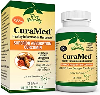 Terry Naturally CuraMed 750 mg - 120 Softgels - Superior Absorption BCM-95 Curcumin Supplement, Promotes Healthy Inflammat...