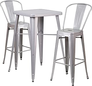 Flash Furniture 23.75'' Square Silver Metal Indoor-Outdoor Bar Table Set with 2 Stools with Backs