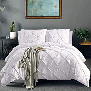Vailge 3 Piece Pinch Pleated Duvet Cover with Zipper Closure, 100% 120gsm Microfiber Pintuck Duvet Cover, Luxurious & Hypo...