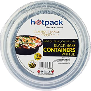 Hotpack Microwaveable Round Black Base Meal Prep Container with Clear Lid, Lunch Boxes 16 oz 5 Pieces ' 5 Units