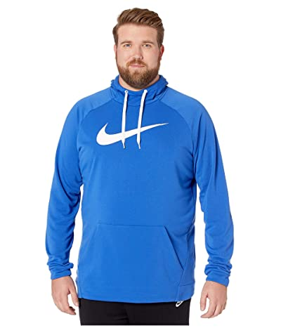 Nike Big Tall Dry Hoodie Pullover Swoosh (Game Royal/White) Men