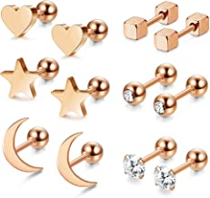 Jstyle 6 Pairs Stainless Steel Ball Stud Earrings for Men Women CZ Cartilage Helix Ear Piercing