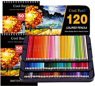 120 Professional Colored Pencils, Artist Pencils Set with 2x50 Page Drawing Pad(A4) for Coloring Books, Premium Artist Sof...